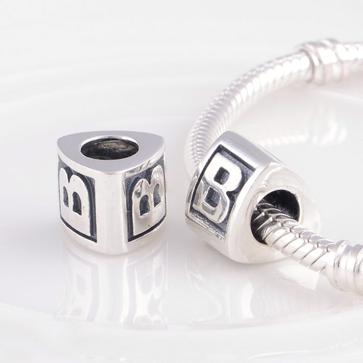 online shop alphabet beads letter b charm silver beads fit pandora bracelet charms 925 sterling silver jewelry bead diy for women bracelet aliexpress