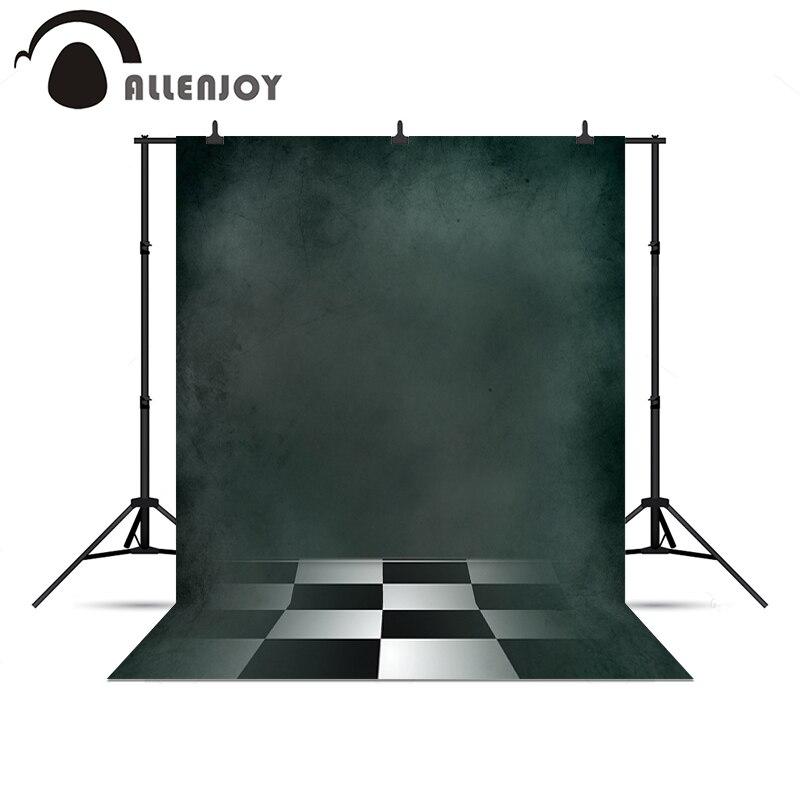 Allenjoy photography backdrops Black white plaid floor dark green background photography photo backdrop photography background