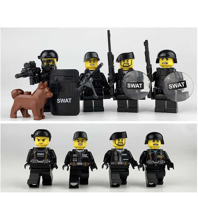 US $6 9 |Aliexpress com : Buy 8pcs SWAT MILITARY Army Special Forces Team  Camouflage Soldier CS Building Blocks Figures Educational Gifts Toys Boys