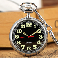 Classic Round Case Pocket Watch Practical Automatic Self winding Movement Pocket Watches Luminous Pointer Clock Pendant 2019