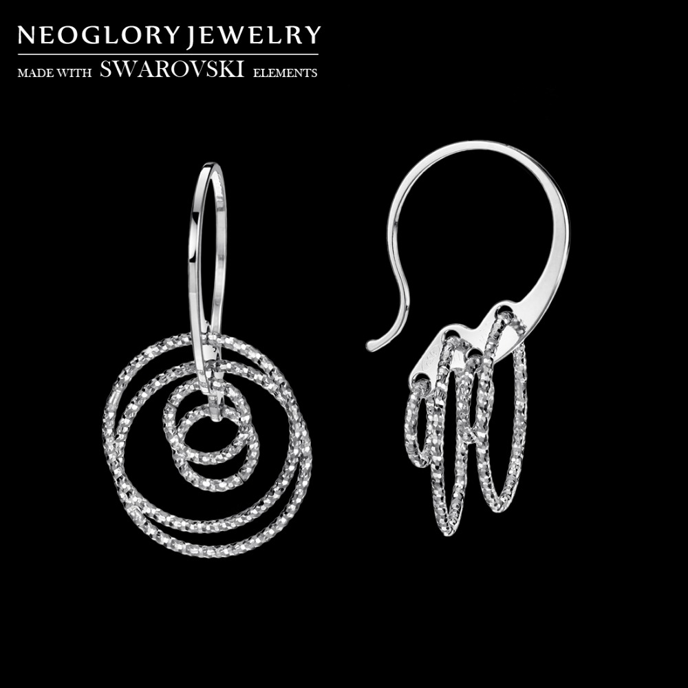 Neoglory Italian Cutting Shining Drop Earrings Round Balls Design Rhodium Sterling 925 Silver Trendy For Lady