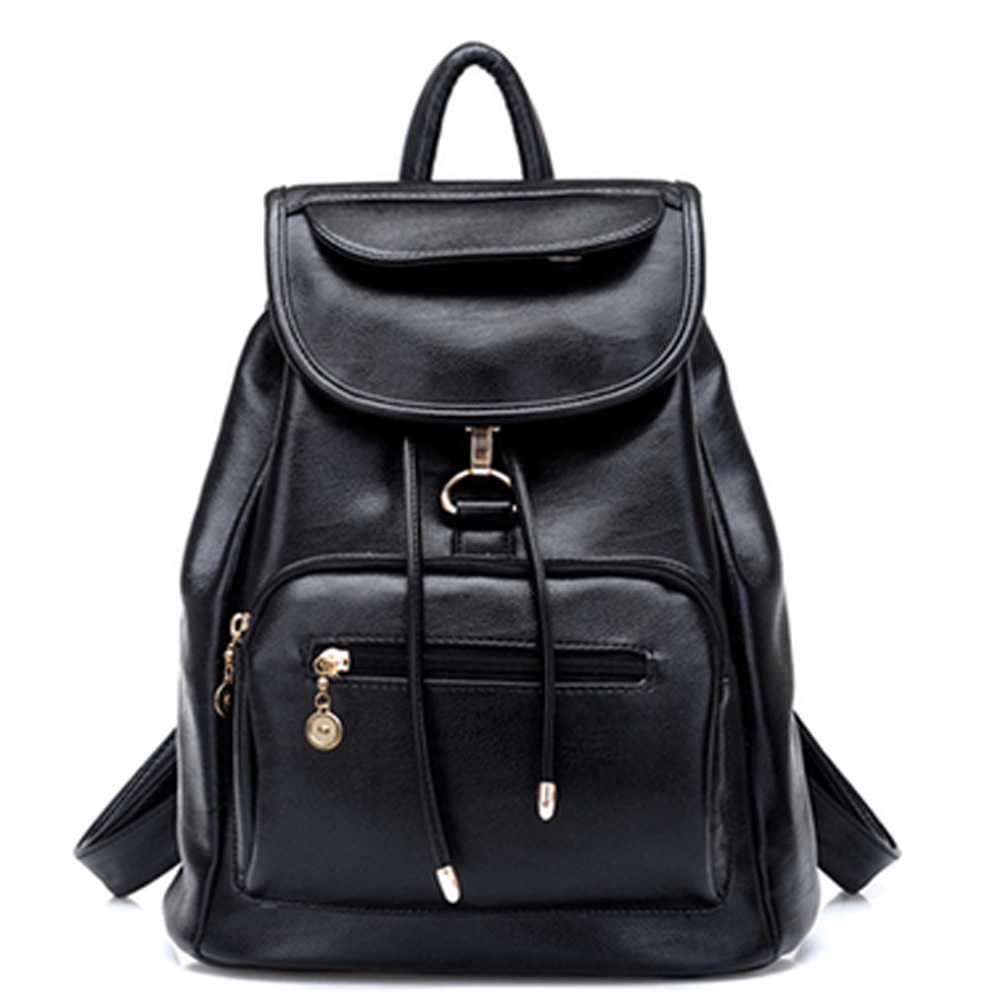 Batoh Stylish Black Leather Backpack for Teenagers Girls Youth Drawstring Knapsack Schoolbag Backpacking women 2016