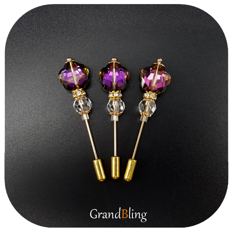 Trendy Purple Color Crystal Flower Shape Bead Long Needle Pin Hijab Pin