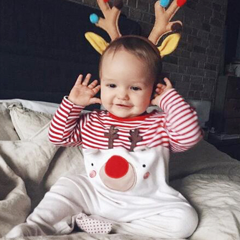 d5738f8e81ad Newborn Christmas Rompers Infant Baby Deer Patchwork Xmas Romper ...