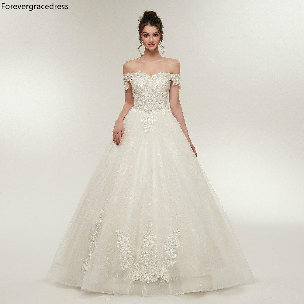Forevergracedress Elegant White Ivory Wedding Dresses 2019 A Line Lace Up Back Formal Bride Bridal Gowns Plus Size Custom Made