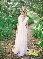 Summer Style Chiffon Grecian Backless Beach Wedding Dresses 2016 V Neck Boho Bridal Gown Vintage Greek