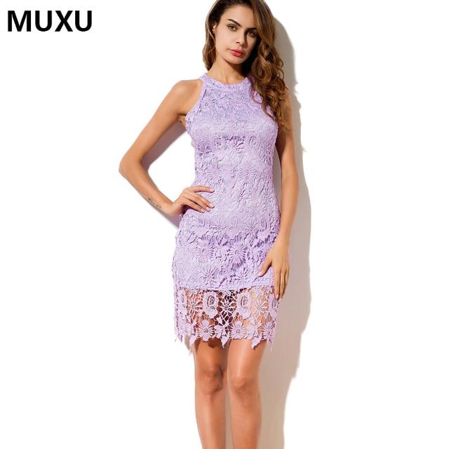 Muxu Sexy Women Lace Dress Plus Size Party Dresses Summer Crochet