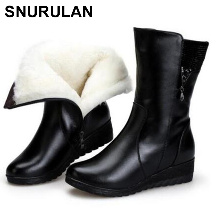 SNURULAN Brand shoes Winter Boots Warm Wool Snow Boots cow Leather Boots Women Shoes 2018 plus size Wedges Non-slip Women Boots 2017 women winter boots shoes snow boots blue warm snow boots down plus size 35 42 non slip platform winter boots shoes xz 29