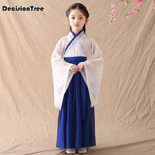 2019 new traditional chinese hanfu dancing clothing white blue classic dress folk dance costumes for kids girls performance