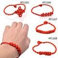 Lichia 1 peça Estilo Chinês Nó Chinês Artesanal Decorativo Vermelho Trança Fio Melhor Desejo Sorte Pulseira