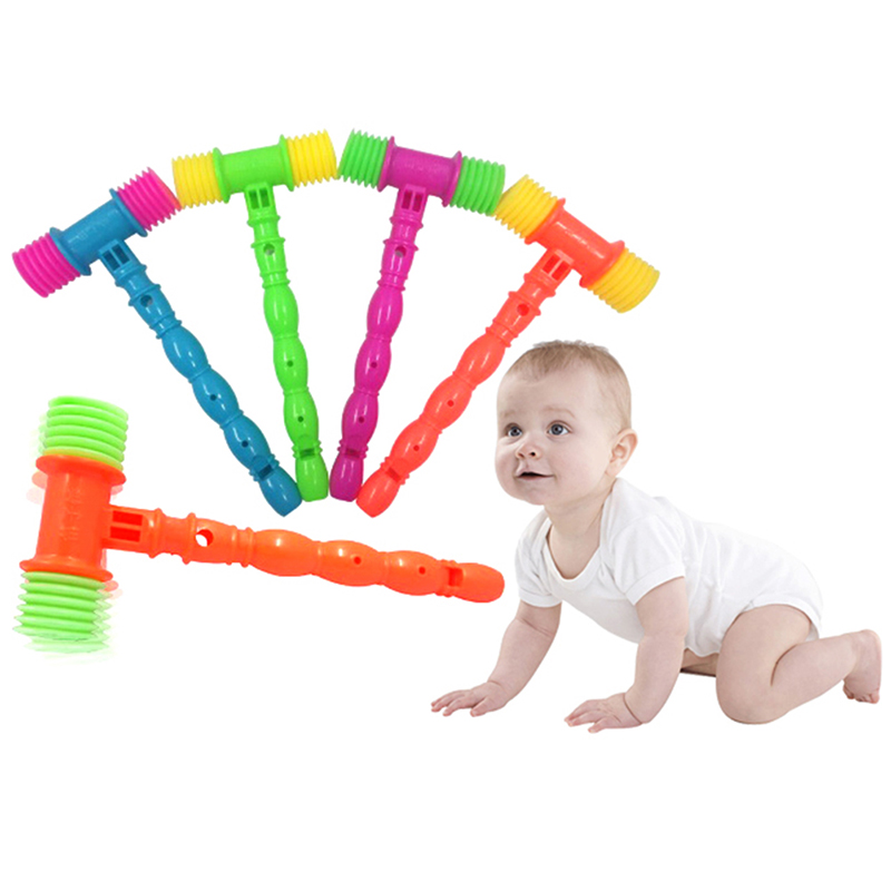 25CM Plastic Durable Handle Hammer Noise Maker Toy Child Built In Whistle Toddler Baby Kids Plastic Noisy Whistle Toy Fun