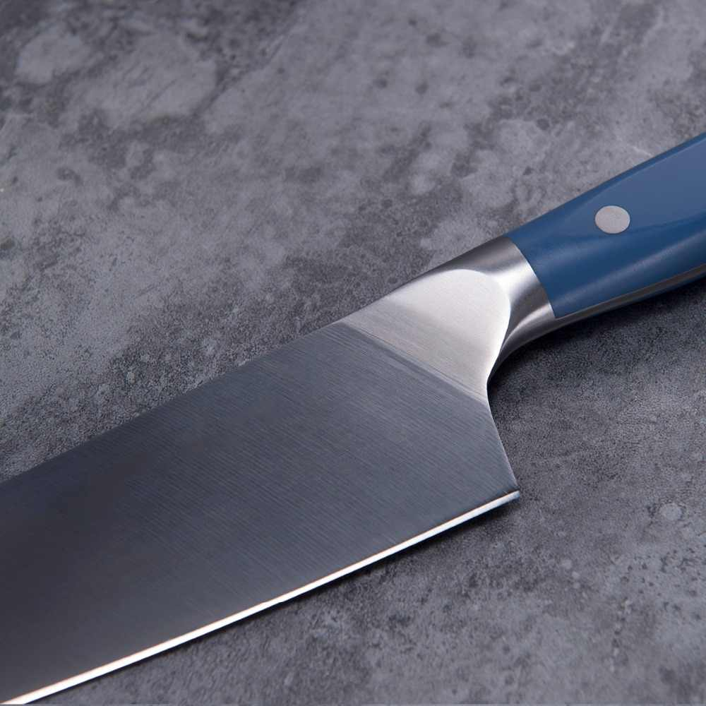 TUO TALHERES Faca Do Chef Japonês-440 Chefs Faca De Cozinha Em Aço Inoxidável De Alto Carbono-Ergonômico ABS Azul Full Tang handle-8''