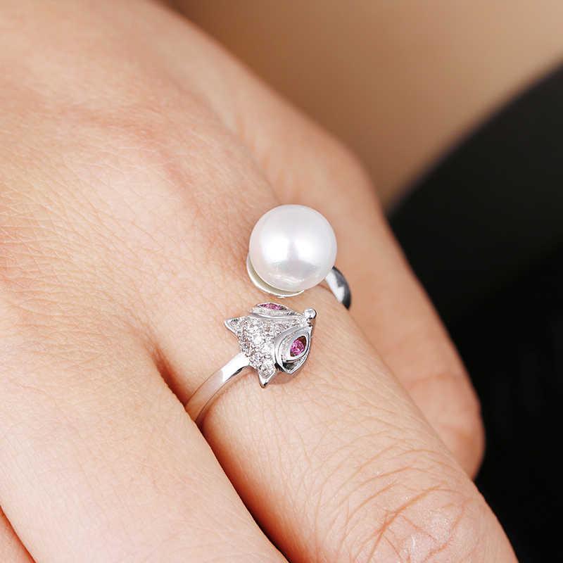 عالية الجودة موضة تقليد اللؤلؤ الثعلب الحيوان 925 الفضة الاسترليني السيدات 'فنجر خواتم الحفلات مجوهرات هدية المرأة تعزيز