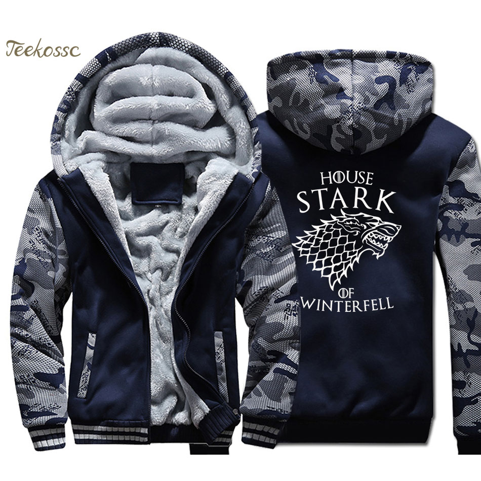 Game of Thrones Casa Stark di grande inverno Felpa Con Cappuccio Da Uomo Graphic Design Felpa Con Cappuccio del Cappotto 2018 di Inverno del Panno Morbido di Spessore Giacca Fresco