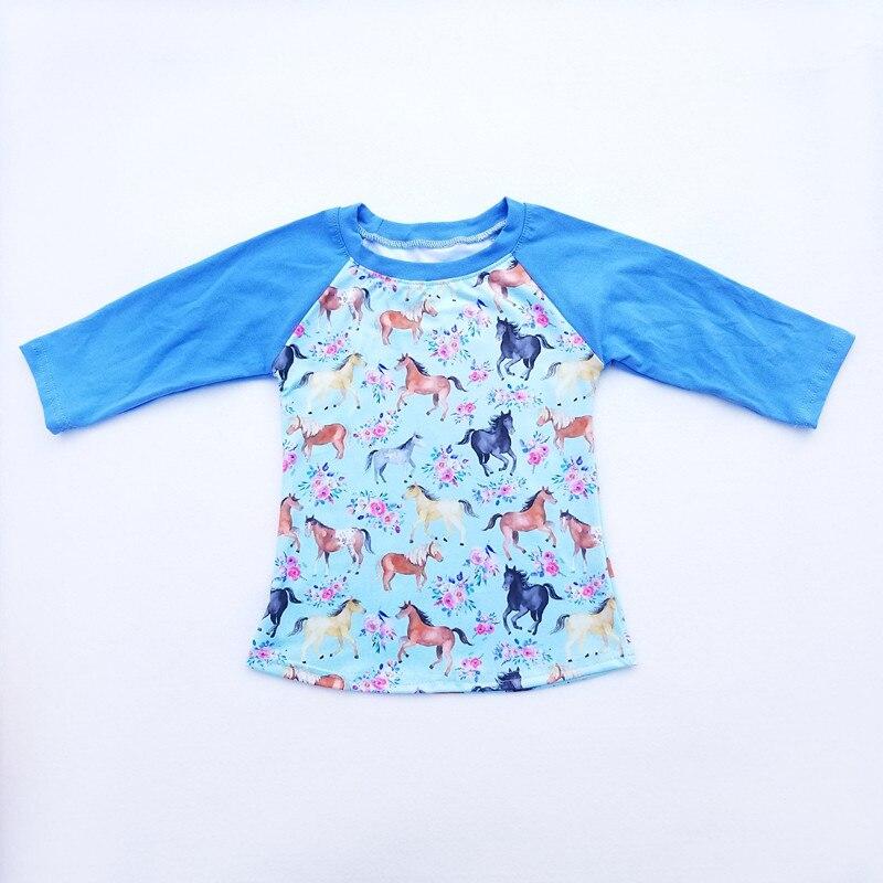 130c1befc6aa Baby Boy Long Sleeve t-shirt Fall Winter Blue Raglan Tshirt Horse Floral  Printed Boy Cartoon Boutique Clothing Milk Silk