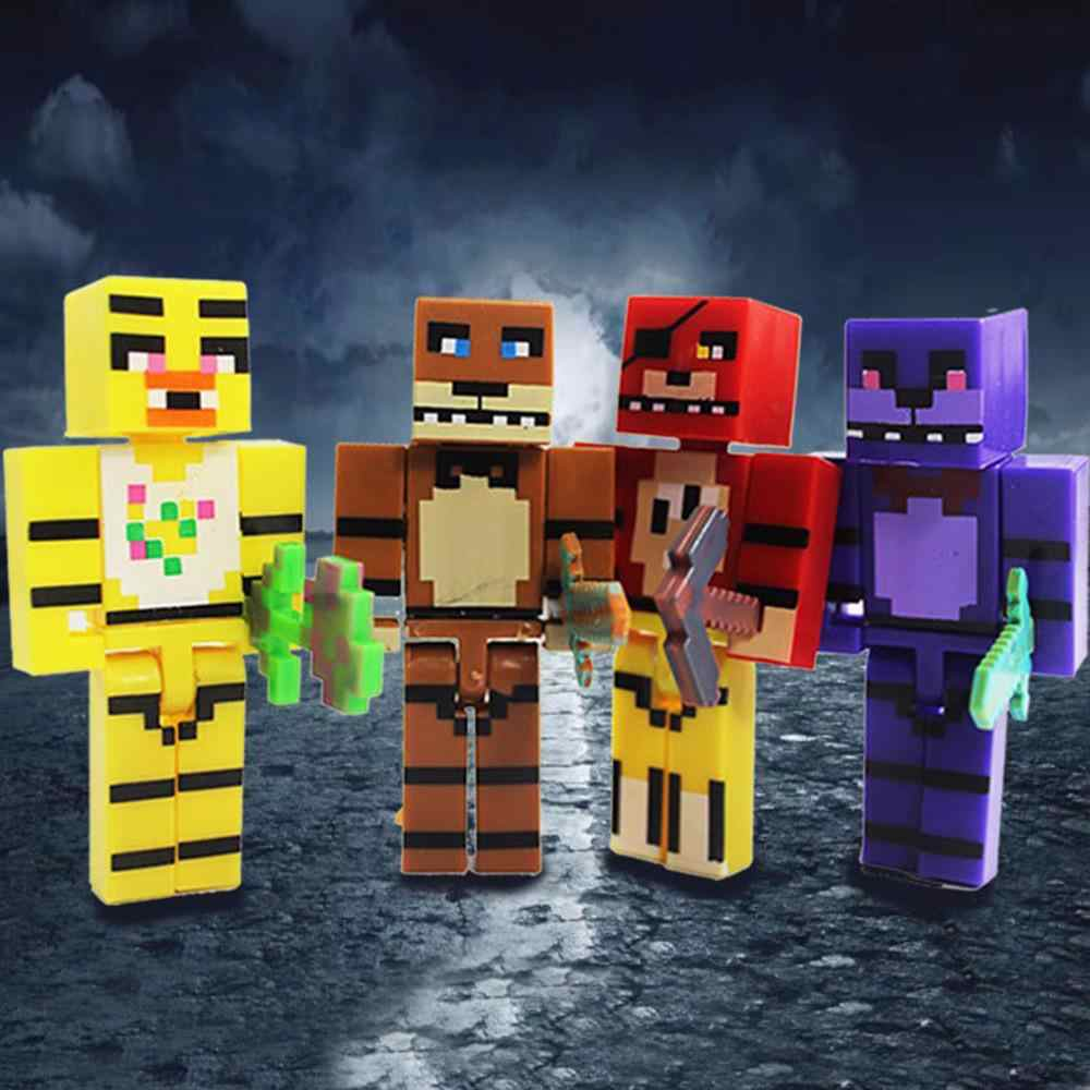 4pcs/set FNAF Five Nights At Freddy's Figure Toy Foxy Chica Bonnie Freddy Action Figures with Sword Kid Block Toy Boys Gift