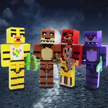 4 unids/set FNAF cinco noches en la figura de Freddy juguete Foxy Chica Bonnie Freddy figuras de acción con espada chico bloque juguete niños regalo