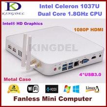 Бесплатная доставка 8 ГБ оперативной памяти 64 ГБ SSD безвентиляторный тонкий клиент мини-пк ядро Intel Celeron 1037U 1.8 ГГц процессор 1080 P USB 3.0 жк-hdmi VGA