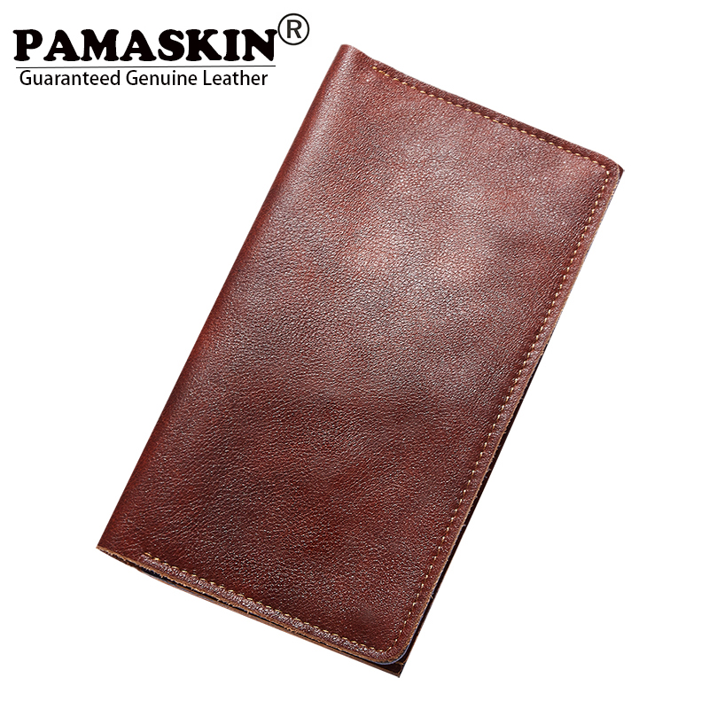 PAMASKIN Brand Genuine Leather Men Passport Cover Long Card Wallets Purses Premium Hot Slim Passport Holder Male Card Holders top brand genuine leather wallets for men women large capacity zipper clutch purses cell phone passport card holders notecase