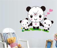 Kid's room background wall stickers decor panda wallclock creative wholesale wallpaper SA 1 018 panda family wall decals 30*90cm