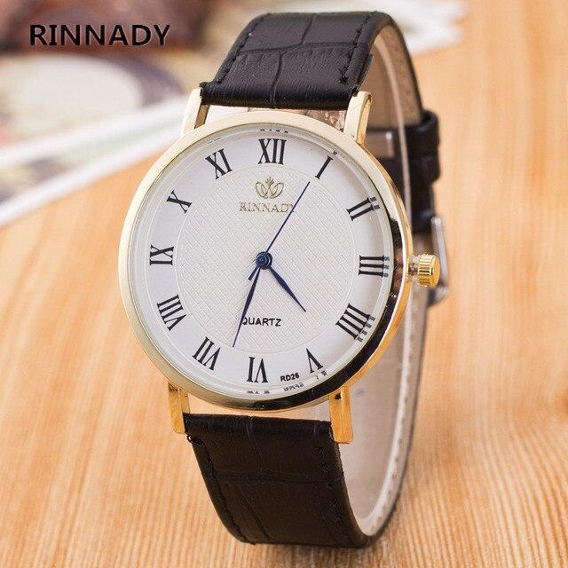 7bf90c1d87962 Rinnady ماركة فاخرة الكوارتز ساعات رجالية موضة جنيف كوارتز ساعة جلدية حزام  المعصم relogio masculino reloj