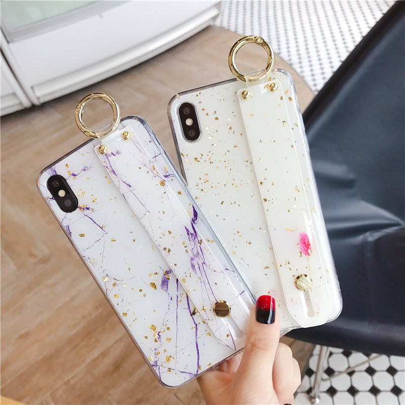 5 SoCouple Wrist Strap Soft TPU Phone Case For iphone 7 8 6 6s plus Case For iphone X Xs max XR  Marble Gold Foil Holder Case