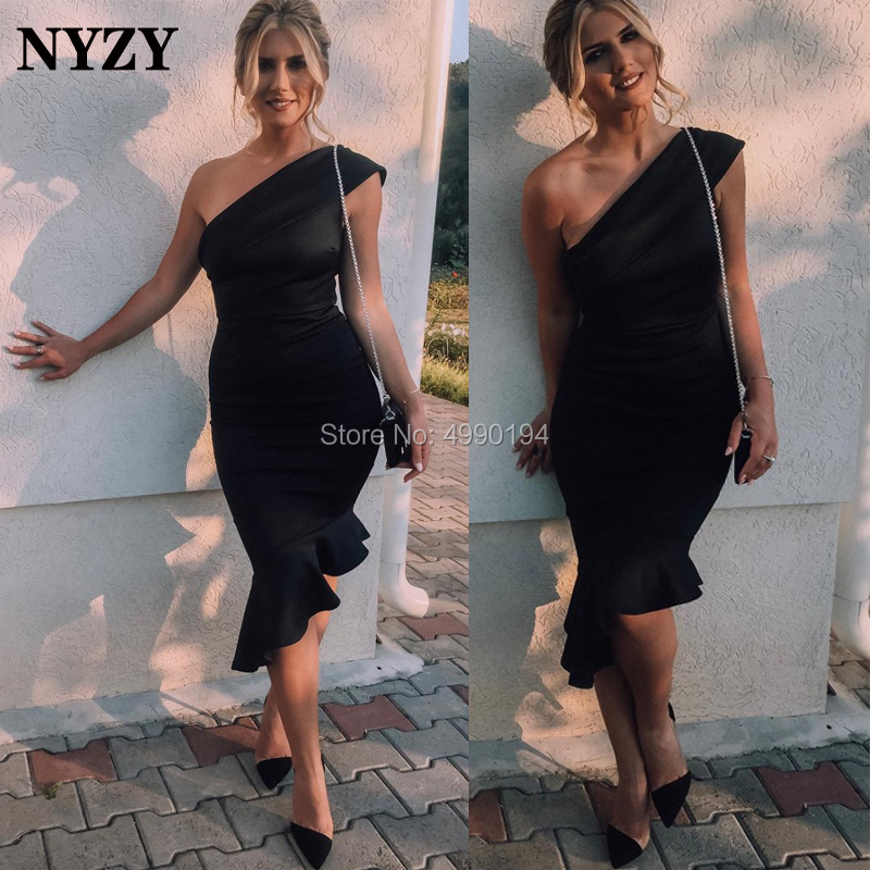 NYZY C139 Black   Cocktail     Dresses   Satin One Shoulder Ruffles Mermaid Robe Soiree Short Formal   Dress   Party 2019