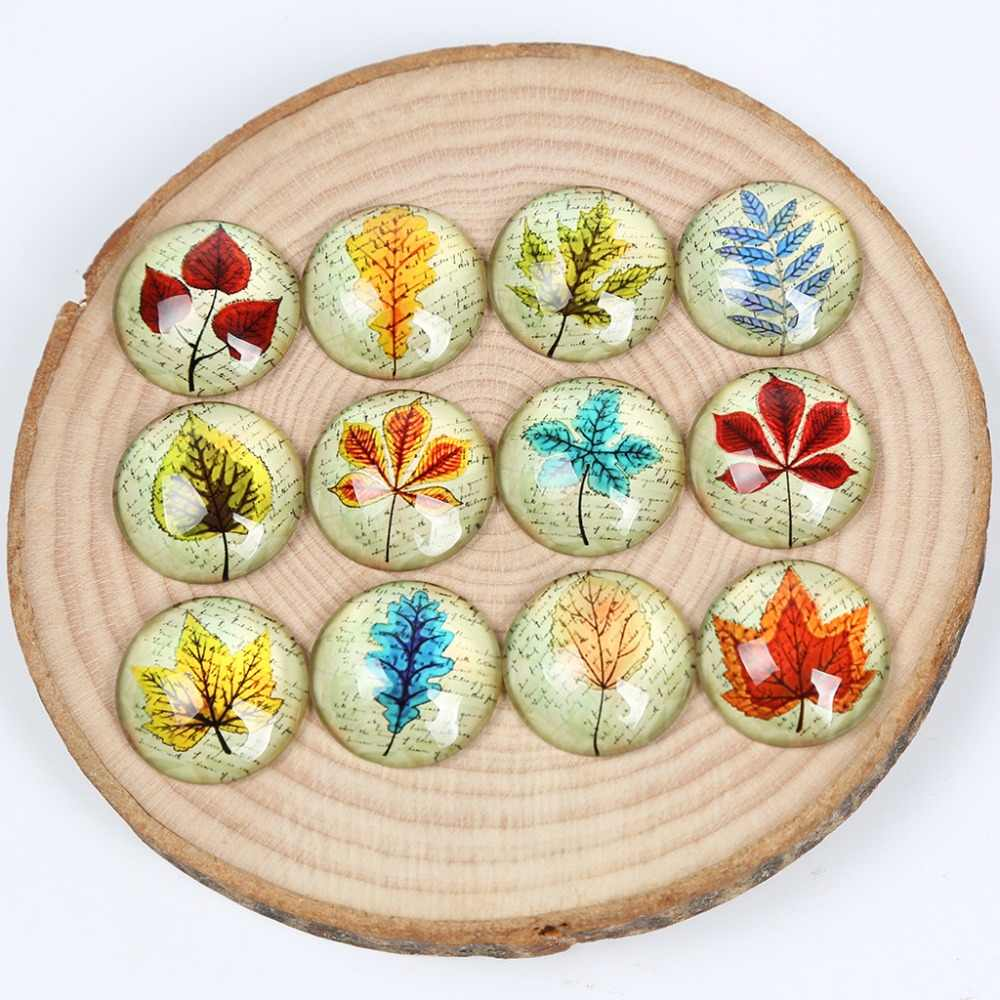 reidgaller leaf photo round glass cabochon 30mm 12mm 20mm 25mm diy mixed handmade jewelry findings for necklace pendants