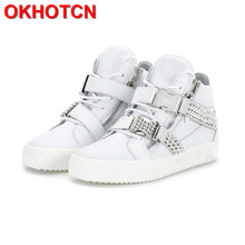 Men Fashion Shoes Crystal Spiked White Casual Height Increasing High Top Sneakers For Rivets Buckle Mens