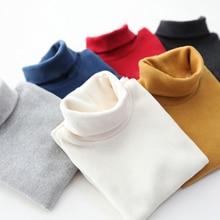 New Children tshirt boys Winter Thicken Add wool T-shirts Girls Solid color Long sleeve tops Cotton Turtleneck Tee shirt garcon