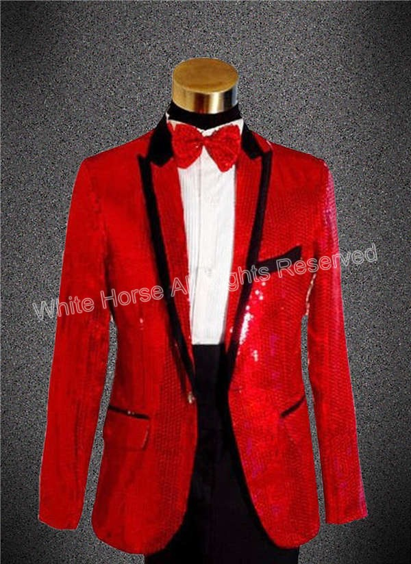 Online Shop Red blazer men sequin blazer men blazer slim fit mens ...