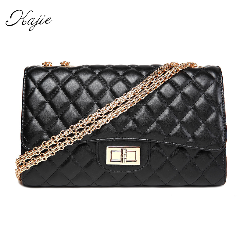 Kajie Fashion Diamond Lattice Golden Chain Leather Luxury Flap Women Messenger Bags Black Designer Shoulder Lock Clutch Channels