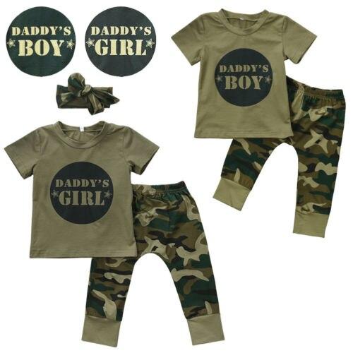 2 stücke Neugeborenen Kleinkind Armee Grün Baby Junge Mädchen Brief T-shirt Tops Hosen Outfits Set Kleidung 0-24M infant Junge Kleidung-10