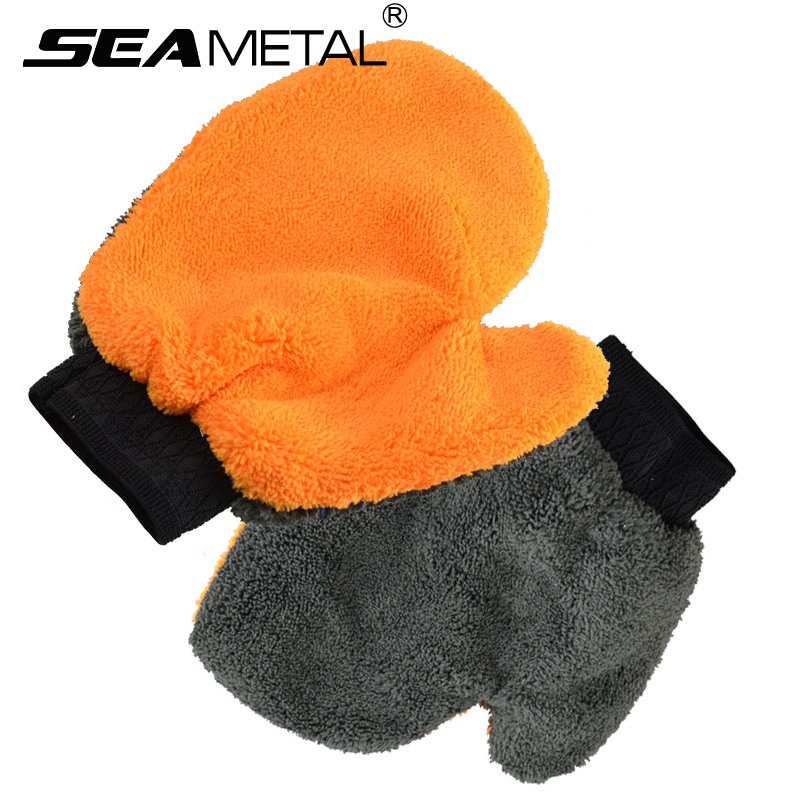 1Pc Car Wash Gloves Cleaning Brush Tools Clean Window Door Velvet Water Absorption Soft Care Furniture Glass Dust Cleaner Washer