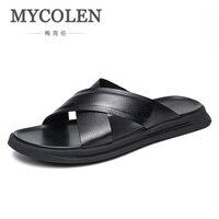 MYCOLEN 2018 бренд Для мужчин лето Cool Water вьетнамки мужской высокое качество пляжные тапочки на плоской подошве модная мужская повседневная обув