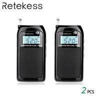 2pcs RETEKESS PR12 AM FM Mini Handheld Radio Portable Pocket Radio Receiver With MP3 Player Support Micro USB Card For Walking