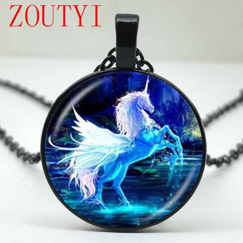 2018 / Fashion Moonlight Unicorn Pattern Glass Round Pendant Necklace, Men's and Women's Jewelry Necklaces