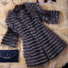 New Fashion Natural Real Silver Fox Fur Coat For Women Long Luxury Striped Outerwear Jacket 160322-1