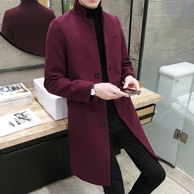 New 2019 Men's Boutique Fashion Pure Color Leisure In The Stand Collar Long Single-breasted Woolen Cloth Dust Coat / Mens Jacket 2