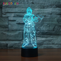 Fireman 3D USB Lights 7 Color LED 3D Touch Table Lamp Ceative Gift LED Light Lamp