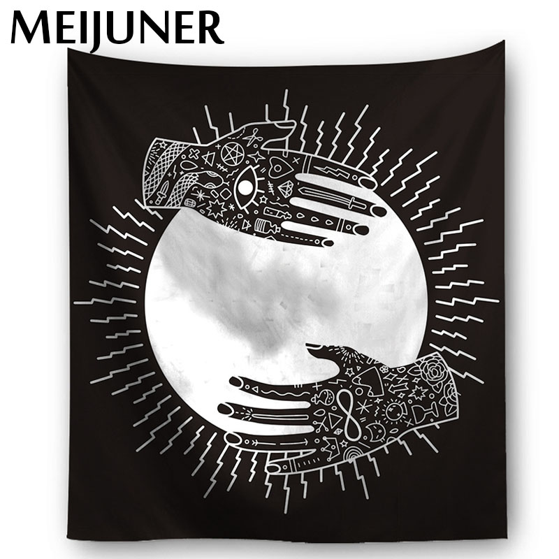 Meijuner Wall Hanging Tarot Tapestry Mandala Polyester Boho Beach Towel Cloth Psychedelic Tapestry for Home Bedroom Decor MJ099