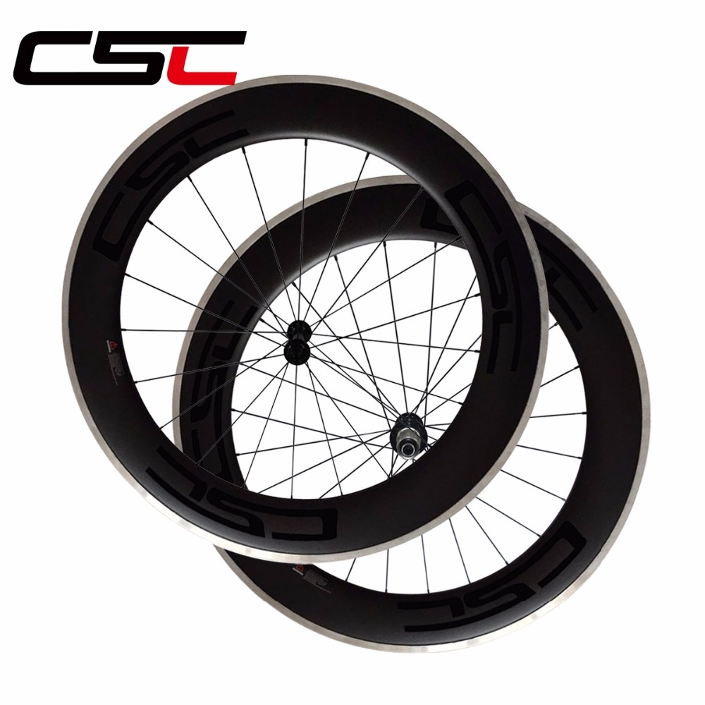 CSC 700C 23mm wide 80mm deep clincher bike wheelset with alloy breaking surface road bicycle carbon