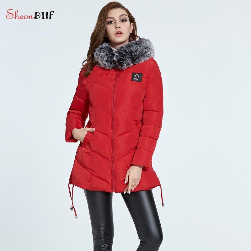 SheonDHF Female Coat Winter Hooded Parka Fur Red Padded Cotton Jacket Women Clothing Fashion Long Slim Coat 2017 New Outerwear стоимость