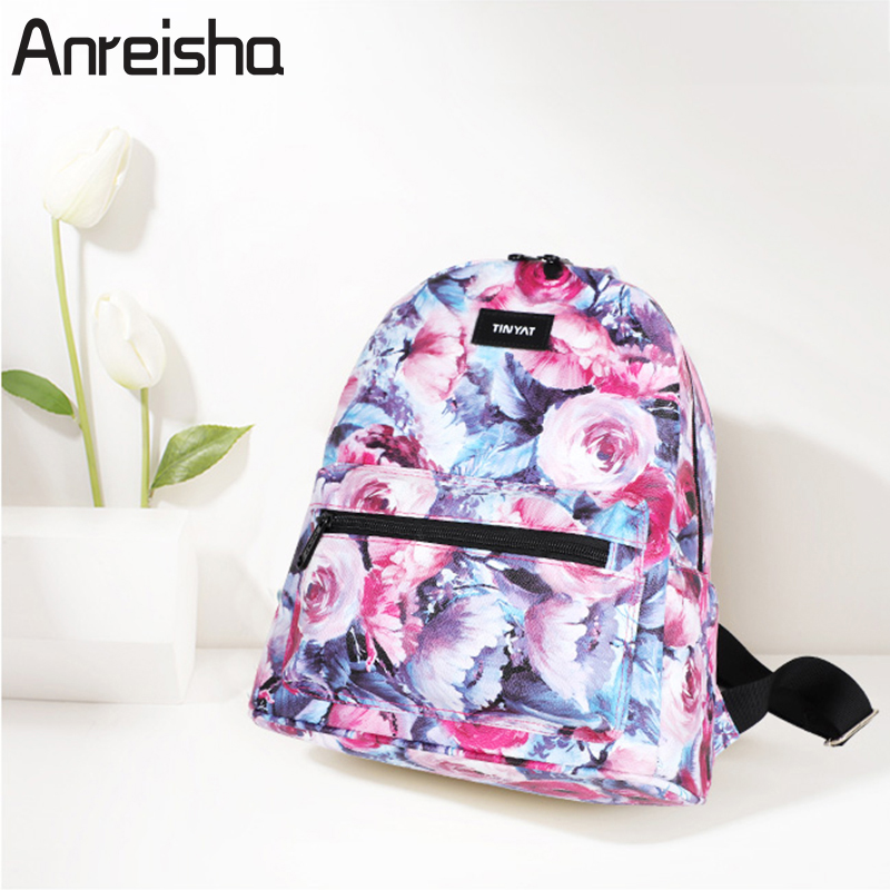 Anreisha Fashion Women Backpack Leather School Bags For Teenage Girls Rucksack Small Floral Embroidery Flowers Bagpack Mochila
