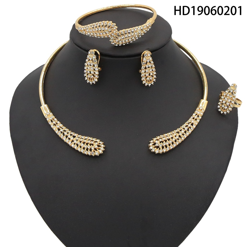 Yulaili Fashion Gold color African Jewelry Sets for Women Round Copper Simple Necklace Bracelet Earrings Ring Wholesale Price