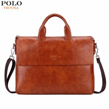 VICUNA POLO New Arrival Fashion Business Man Bag Bright Color Mens Leather Briefcase For 14'' Laptop leather portfolio for men