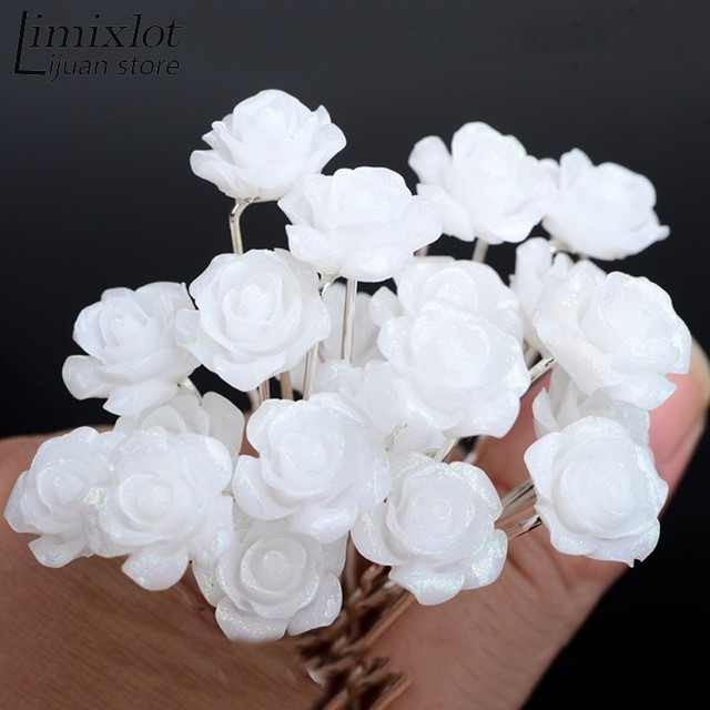 Imixlot 20pcslot wedding hair accessories white flower hair pins imixlot 20pcslot wedding hair accessories white flower hair pins hair clip for women headwear mightylinksfo