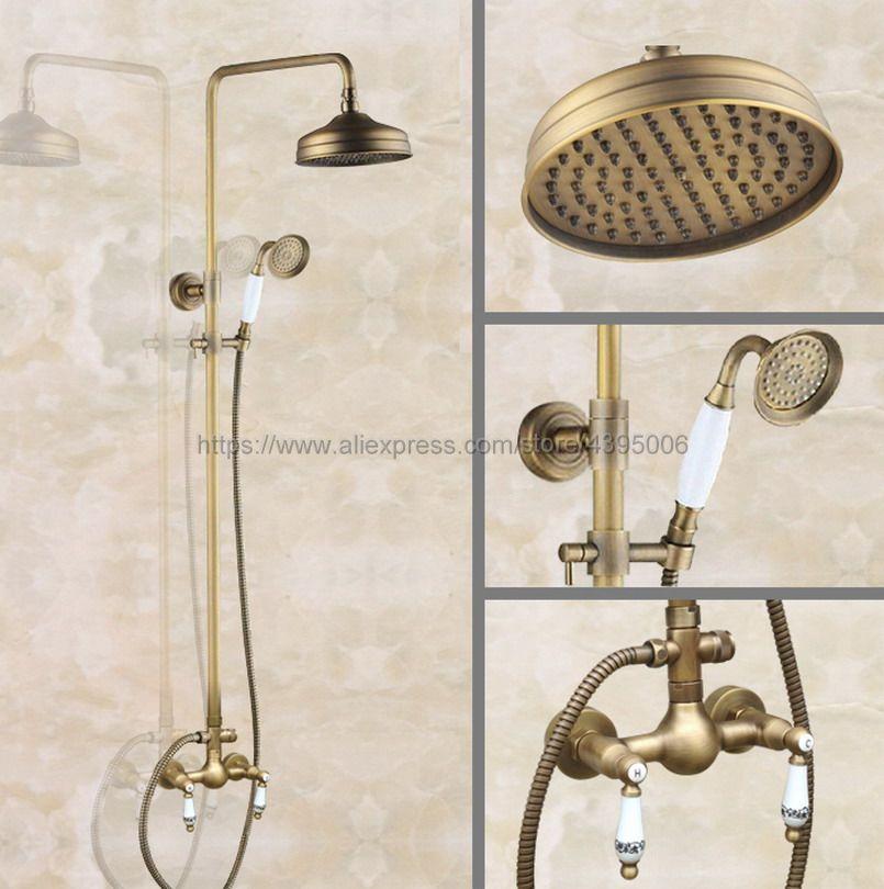 Antique Brass Bathroom 8 Rainfall Shower Faucet Set Dual Handle Bath Shower Mixer Taps Wall Mounted with Handshower Ban107 black bathroom 8 rainfall shower faucet set double handle brass bath shower mixer taps wall mounted with handshower brs705