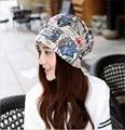 2016 Fashion women confined cap lady printed cotton hats women's winter warm caps beanies hip-hop caps 3 use caps scarf headwear