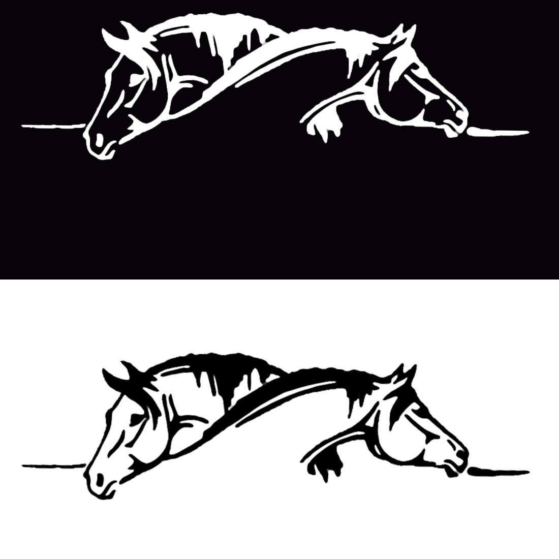 Dewtreetali Creative Two Horses Graphical Car Sticker And Decal Funny Animal Car Styling Black/White super offer high quality maserati granturismo carbon spoiler